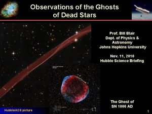 Observations of the Ghosts of Dead Stars Prof