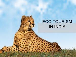 ECO TOURISM IN INDIA THE ECO TOURISM SOCIETY