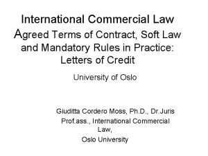 International Commercial Law Agreed Terms of Contract Soft