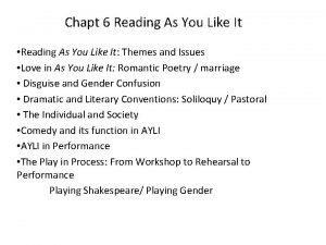 Chapt 6 Reading As You Like It Reading