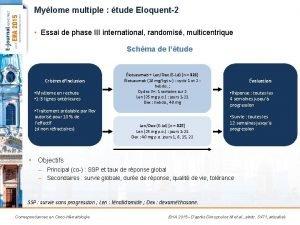 Mylome multiple tude Eloquent2 Essai de phase III