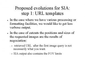 Proposed evolutions for SIA step 1 URL templates