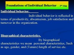 Foundations of Individual Behavior 2 nd chap Individual