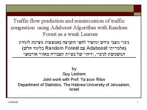 Traffic flow prediction and minimization of traffic congestion
