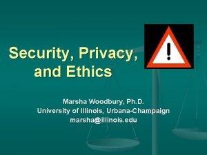 Security Privacy and Ethics Marsha Woodbury Ph D