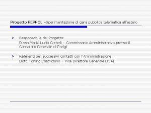 Progetto PEPPOL Sperimentazione di gara pubblica telematica allestero