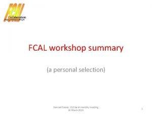 FCAL workshop summary a personal selection Konrad Elsener