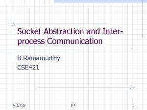 Socket Abstraction and Interprocess Communication B Ramamurthy CSE