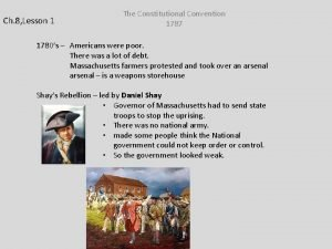 Ch 8 Lesson 1 The Constitutional Convention 1787