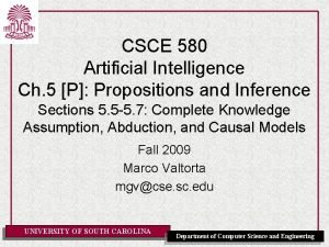 CSCE 580 Artificial Intelligence Ch 5 P Propositions
