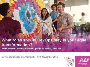 What roles should Dev Ops play in your