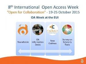 8 th International Open Access Week Open for
