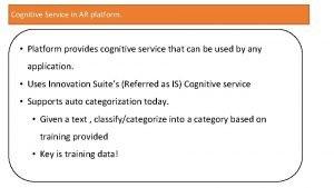 Cognitive Service in AR platform Platform provides cognitive