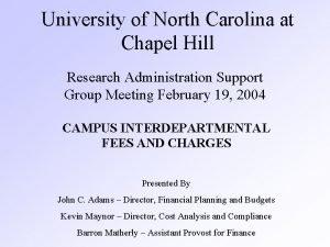 University of North Carolina at Chapel Hill Research