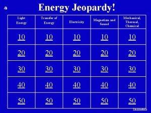 Energy Jeopardy Light Energy Transfer of Energy Electricity