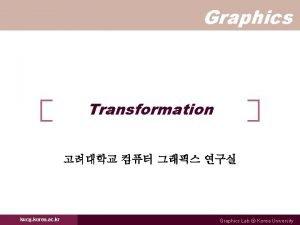 Graphics Transformation kucg korea ac kr Graphics Lab