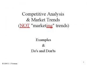 Competitive Analysis Market Trends NOT marketing trends Examples