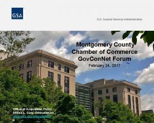 U S General Services Administration Montgomery County Chamber