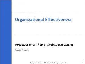 Organizational Effectiveness Organizational Theory Design and Change Gareth
