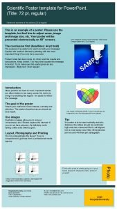 Scientific Poster template for Power Point Title 72