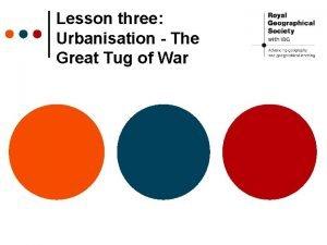 Lesson three Urbanisation The Great Tug of War
