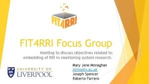 FIT 4 RRI Focus Group Meeting to discuss