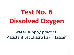 Test No 6 Dissolved Oxygen water supply practical