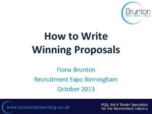 How to Write Winning Proposals Fiona Brunton Recruitment