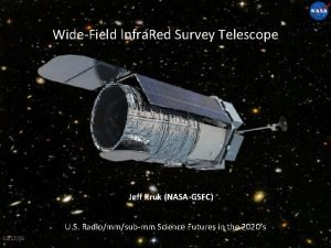WideField Infra Red Survey Telescope Jeff Kruk NASAGSFC