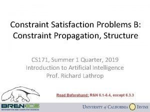 Constraint Satisfaction Problems B Constraint Propagation Structure CS