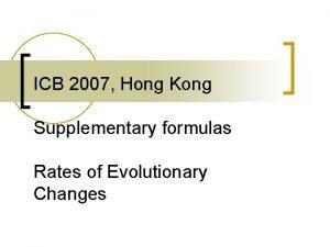 ICB 2007 Hong Kong Supplementary formulas Rates of