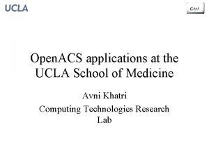 Open ACS applications at the UCLA School of