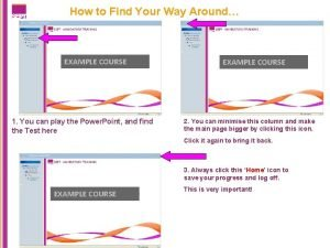 How to Find Your Way Around EXAMPLE COURSE