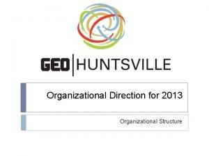 Organizational Direction for 2013 Organizational Structure Agenda 1