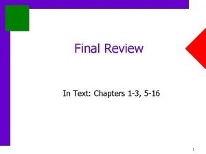 Final Review In Text Chapters 1 3 5