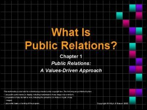 What Is Public Relations Chapter 1 Public Relations