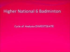 Higher National 6 Badminton Cycle of AnalysisINVESTIGATE Li