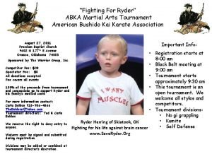 Fighting For Ryder ABKA Martial Arts Tournament American