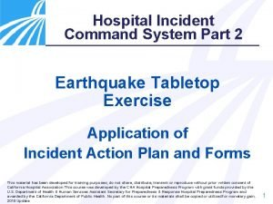 Hospital Incident Command System Part 2 Earthquake Tabletop