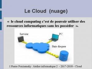 Le Cloud nuage le cloud computing cest de