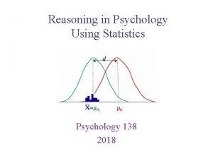Reasoning in Psychology Using Statistics Psychology 138 2018