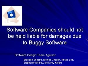 Software Companies should not be held liable for