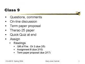 Class 9 Questions comments Online discussion Term paper