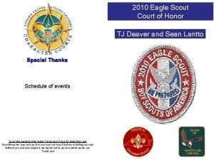 2010 Eagle Scout Court of Honor TJ Deaver