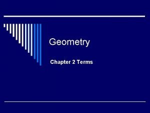 Geometry Chapter 2 Terms Axiom o Also known