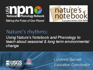Natures rhythms Using Natures Notebook and Phenology to