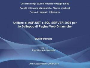 Universit degli Studi di Modena e Reggio Emilia
