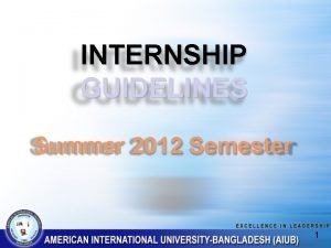 INTERNSHIP GUIDELINES Summer 2012 Semester 1 What to