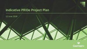Indicative PRIDe Project Plan 12 June 2018 PRIDe