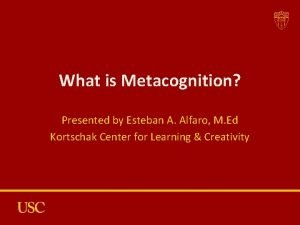 What is Metacognition Presented by Esteban A Alfaro